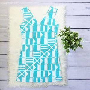 Mahi Gold Blue Geometric Sleeveless Dress 551